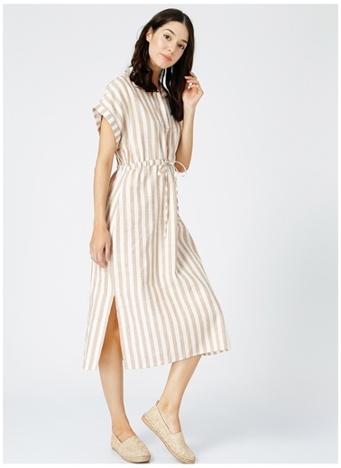 Fabrika Comfort Fabrika Kadın Comfort Bej Çizgili Elbise Bej